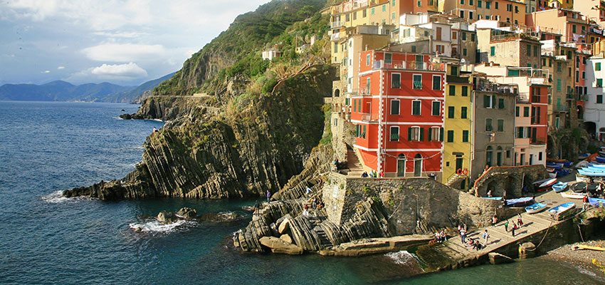 Riomaggiore seaside town on Cinque Terre - Sherpa Expeditions walking in Italy