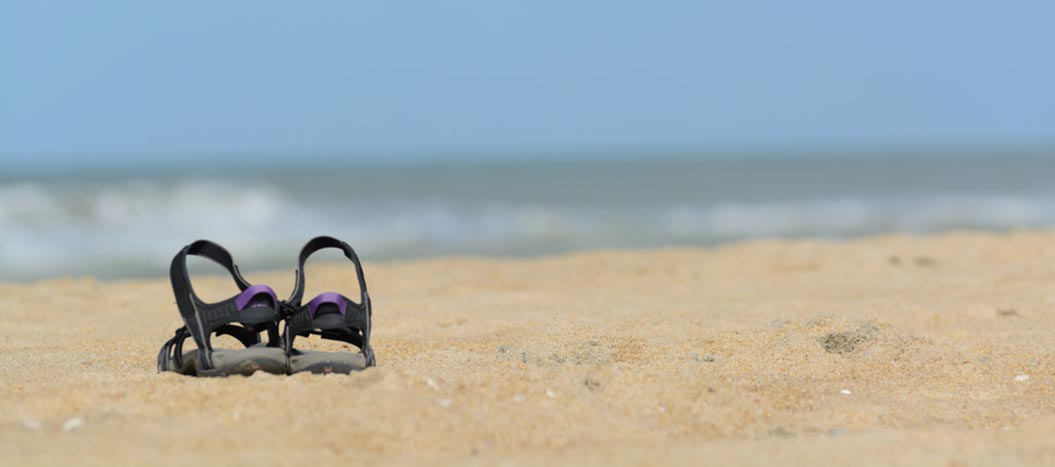 Hiking sandals on the beach