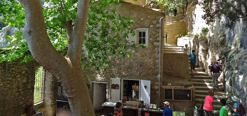 Restaurant in the shadow, walking in France with Sherpa Expeditions