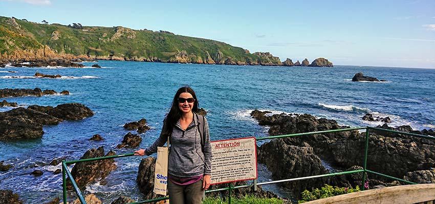 Sherpa's Nathalie walking in Guernsey