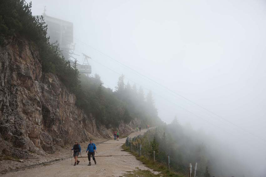 Thick mist below the Tegelberg chairlift