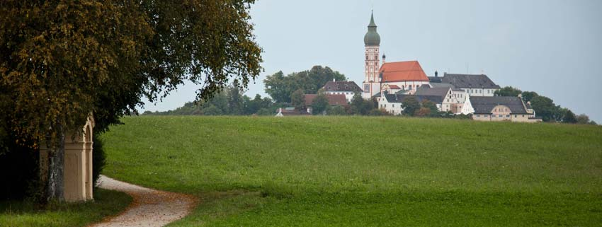 Walking towards the Andechs Monastery