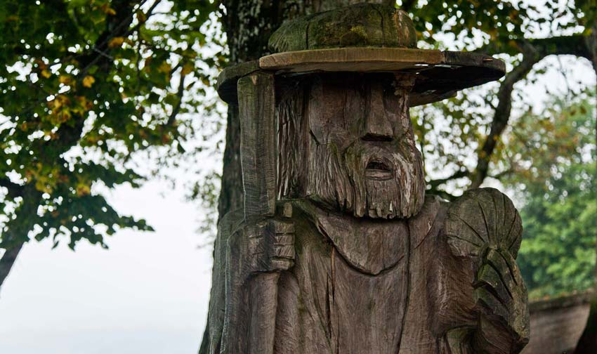 Wood carvings on top of Hohenpeissenberg Hill.