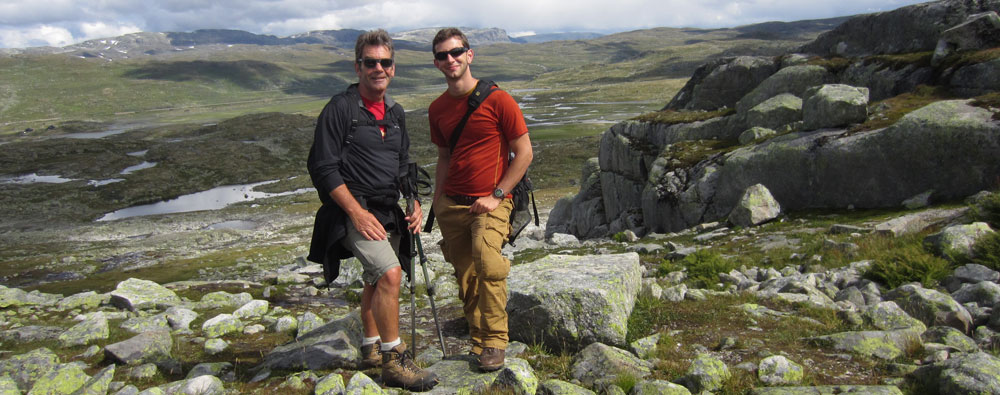 Chris and his son Evan on Fjordland walking holiday in Norway