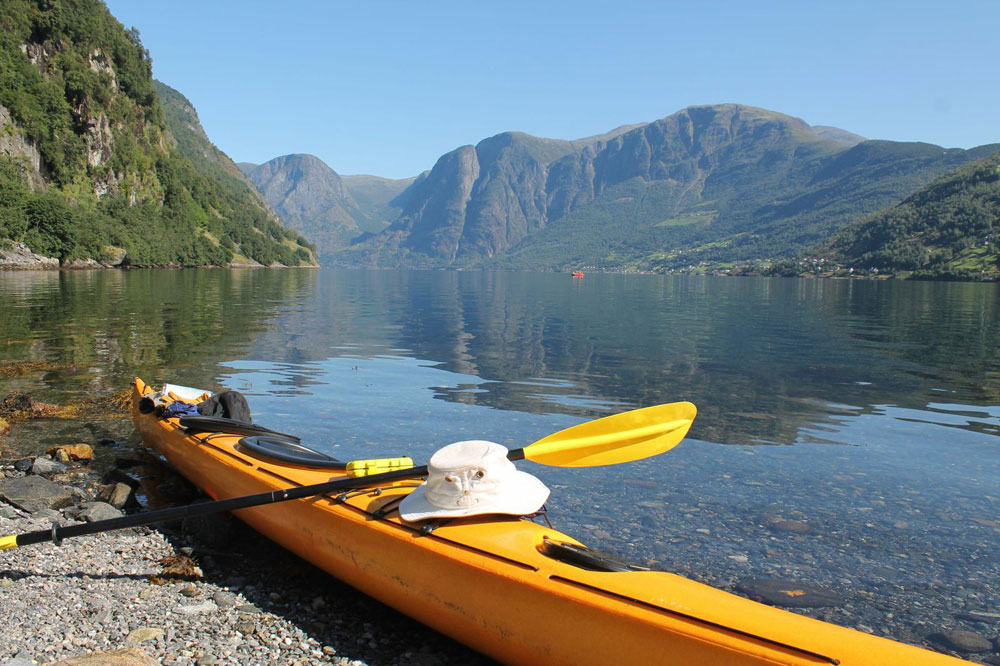 Kayaking near Aurland on Fjordland holiday in Norway